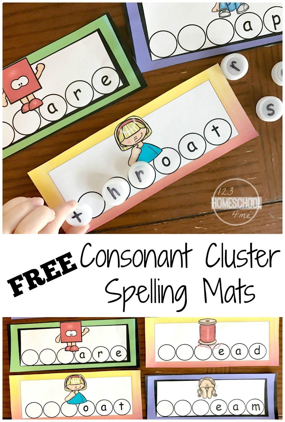 Consonant Clusters Spelling Mats