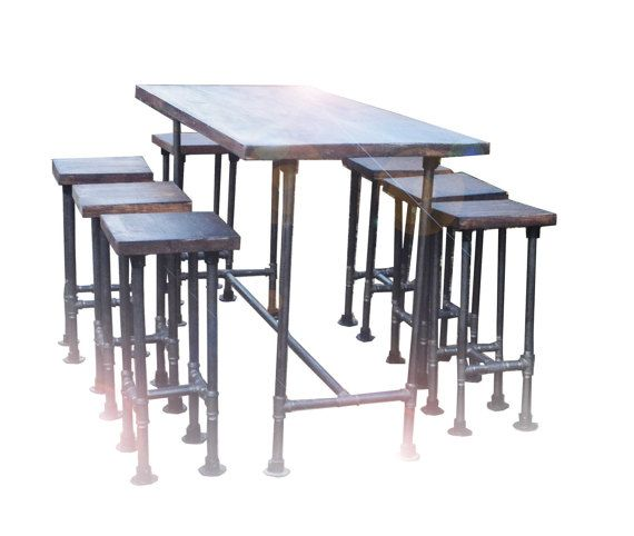 High Industrial Gas Pipe Pole Modern Chic Retro Bar/ Kitchen Table