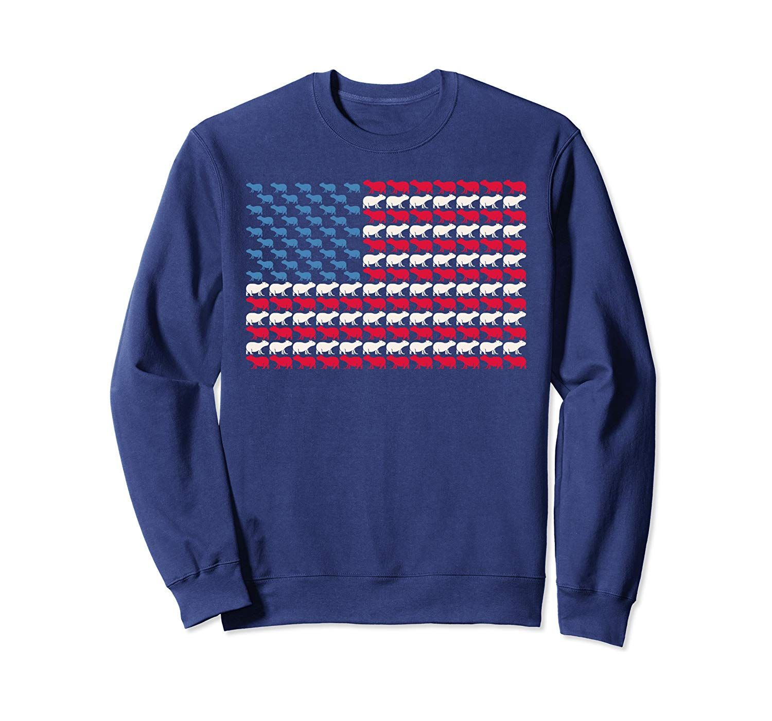 Capybara American Flag Mammal US 4th Of July Animal USA Gift Sweatshirt #americanflag