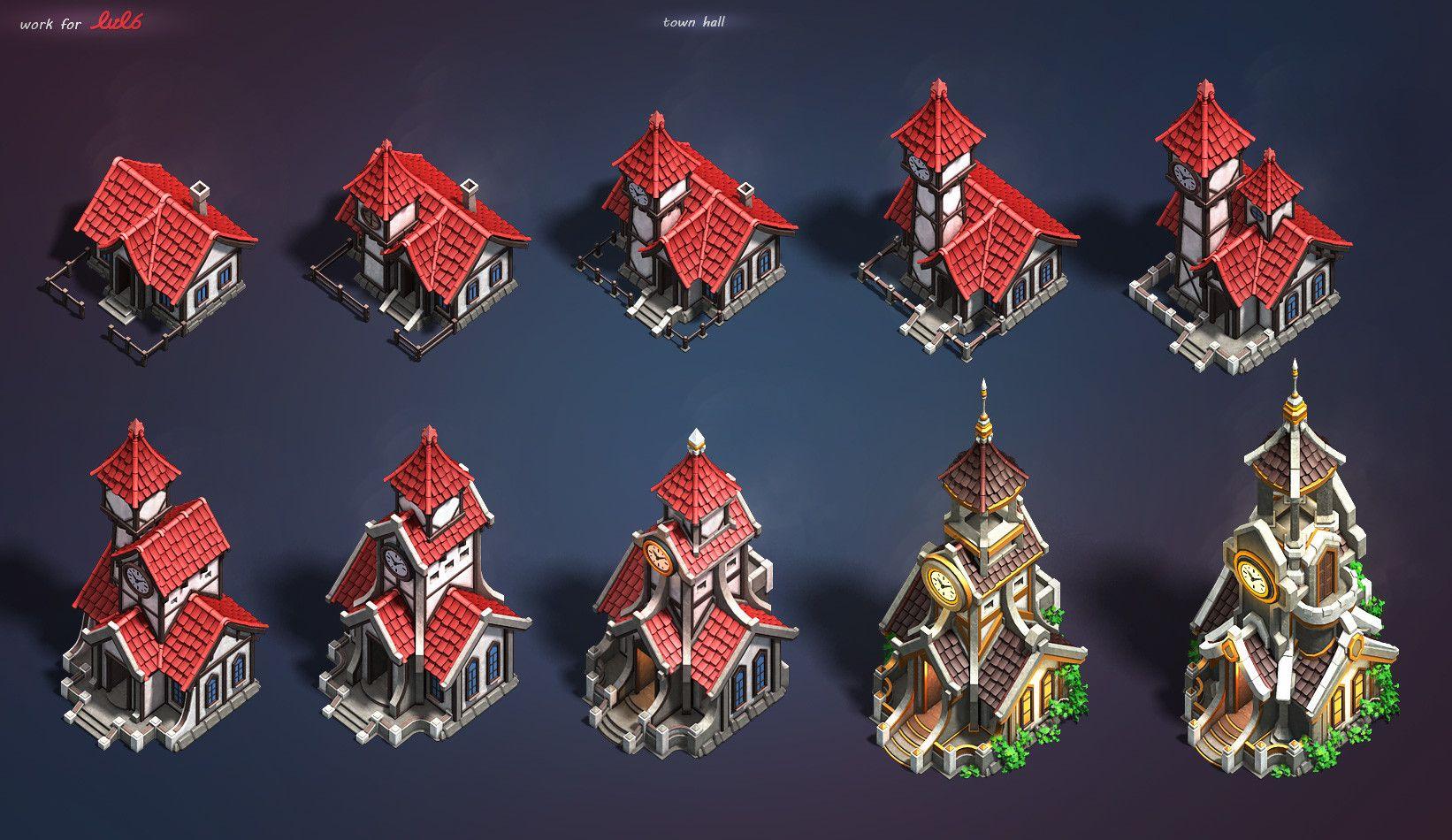 Town Hall Vladimir Voronov Buildings Artwork Isometric Art Town Hall