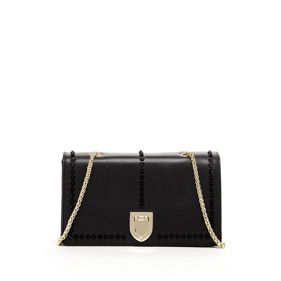 Josie - Leather crossbody bag w/ black studs & gold chain shoulder ...
