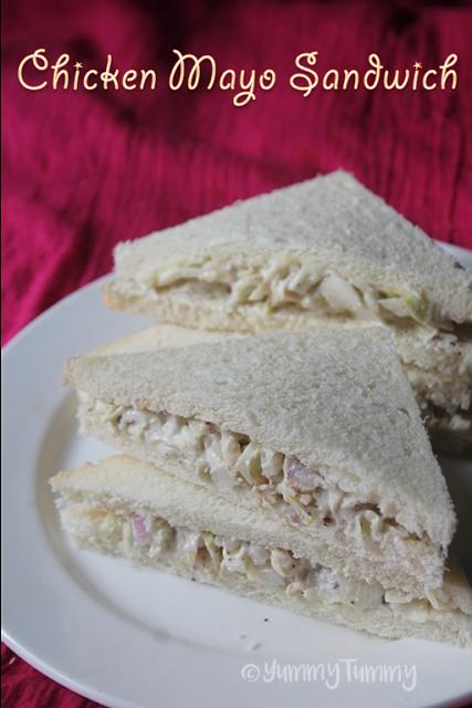Chicken Mayonnaise Sandwich Recipe Chicken Mayo Sandwich Recipe Yummy Tummy Chicken Mayo Sandwich Chicken Sandwich Recipes Cold Sandwich Recipes
