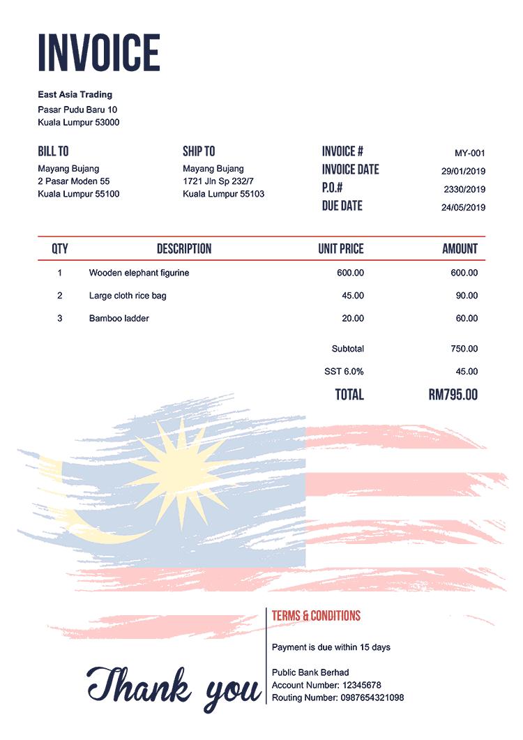 Invoice Template My Flag Of Malaysia Invoice Template Receipt Template Free Receipt Template
