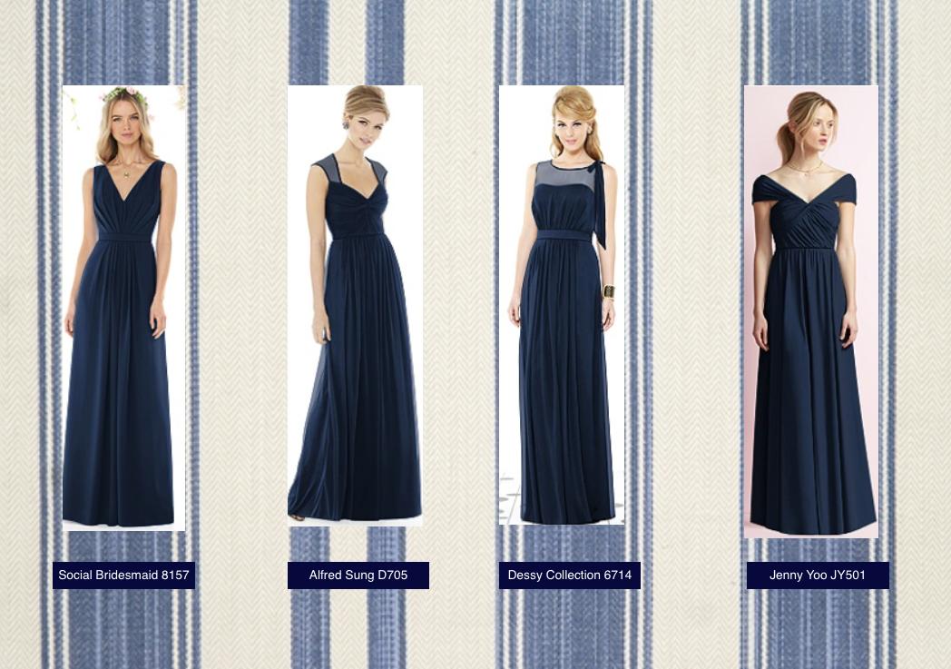 Long Midnight Blue Bridesmaid Dresses