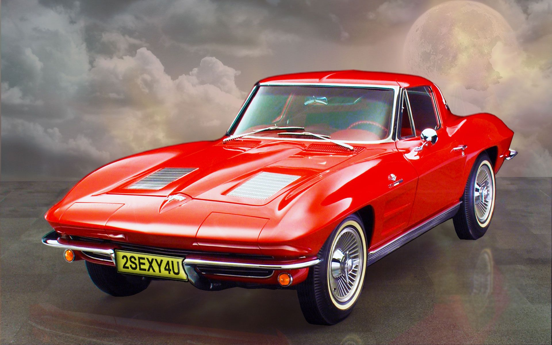 1963 chevy corvette stingray in red