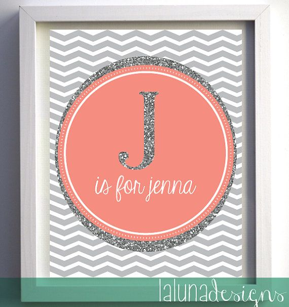 Printable Nursery Art customized with your child\'s initial / name ...
