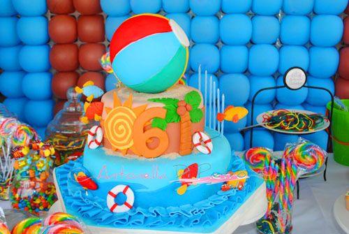 Decoraci n de mesa y fondo ideas para fiestas motivo for Ideas para cumpleanos en piscina