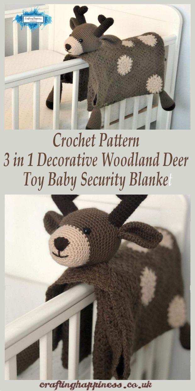 Häkeln Sie Muster 3 in 1 dekorative Wald Hirsch Spielzeug Baby Sicherheit Decke - #Baby #Decke #dekorative #Häkeln #Hirsch #Muster #Sicherheit #Sie #Spielzeug #Wald #woodland #securityblankets