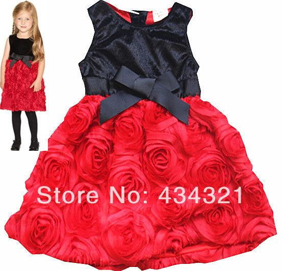 S Red Roses Princess Dress 2017 Summer Baby Child Rose One Piece Age Designer