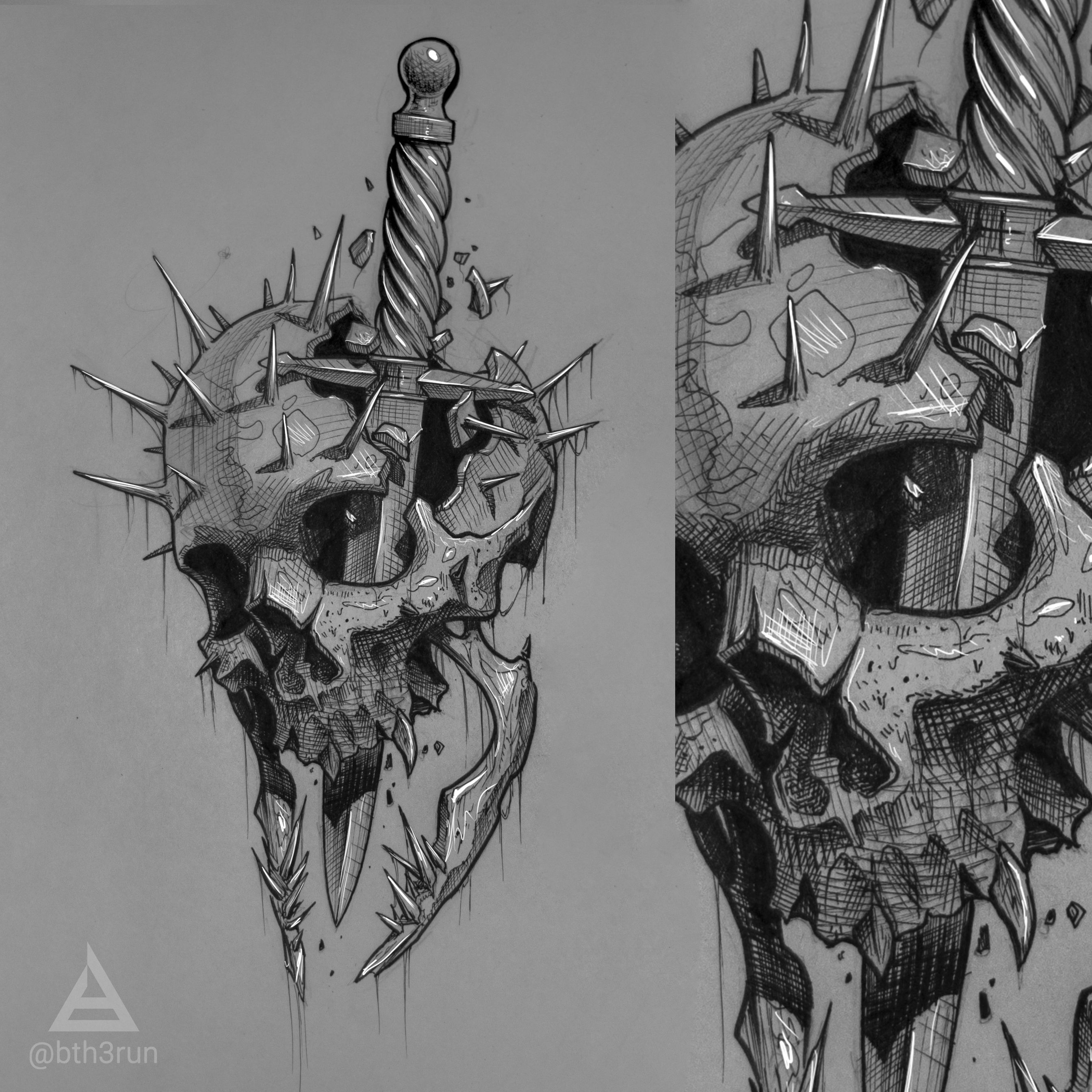 Skull Tattoo Sketch By Bth3run Skull Art Drawing Skull Sketch Skull Tattoo Design