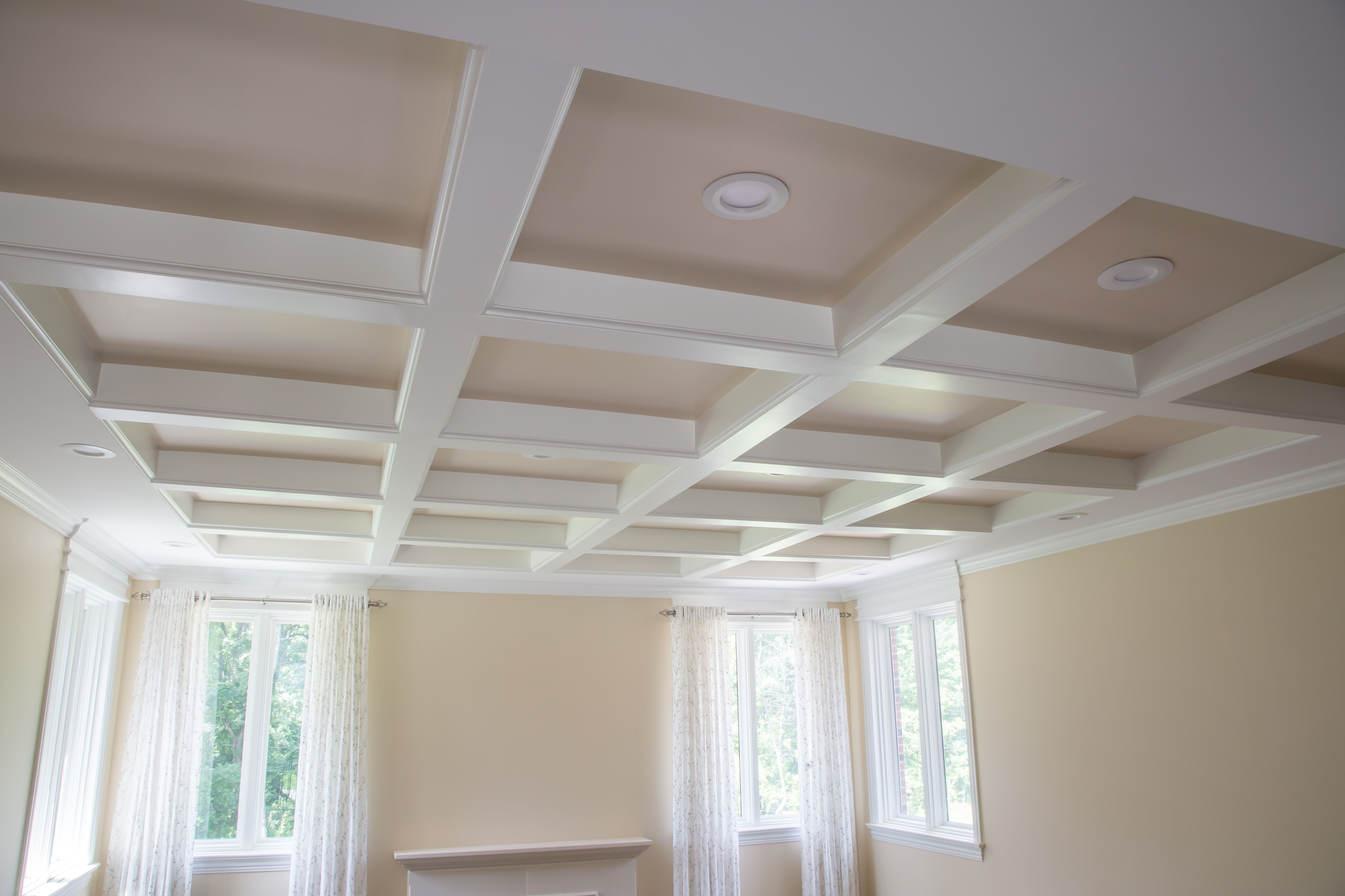 Designing a coffered ceiling is simple and affordable with trim tex drywall products
