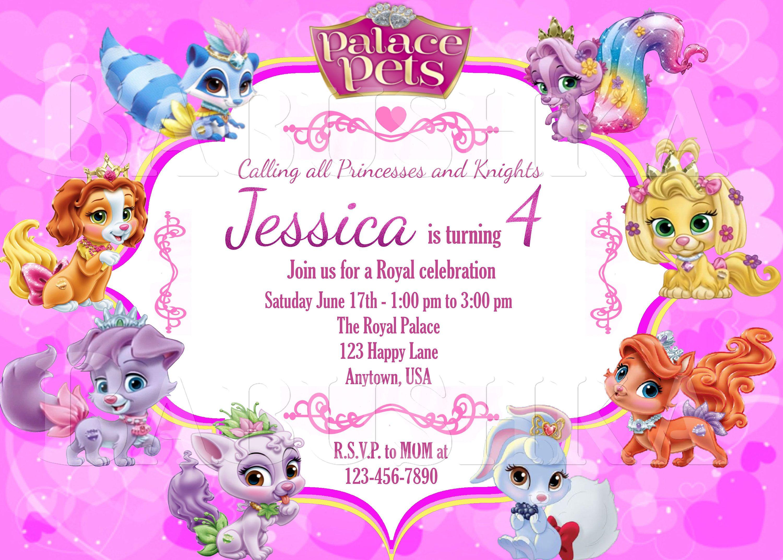 Palace Pets Birthday party Invitation/Disney Princess Palace Pets ...