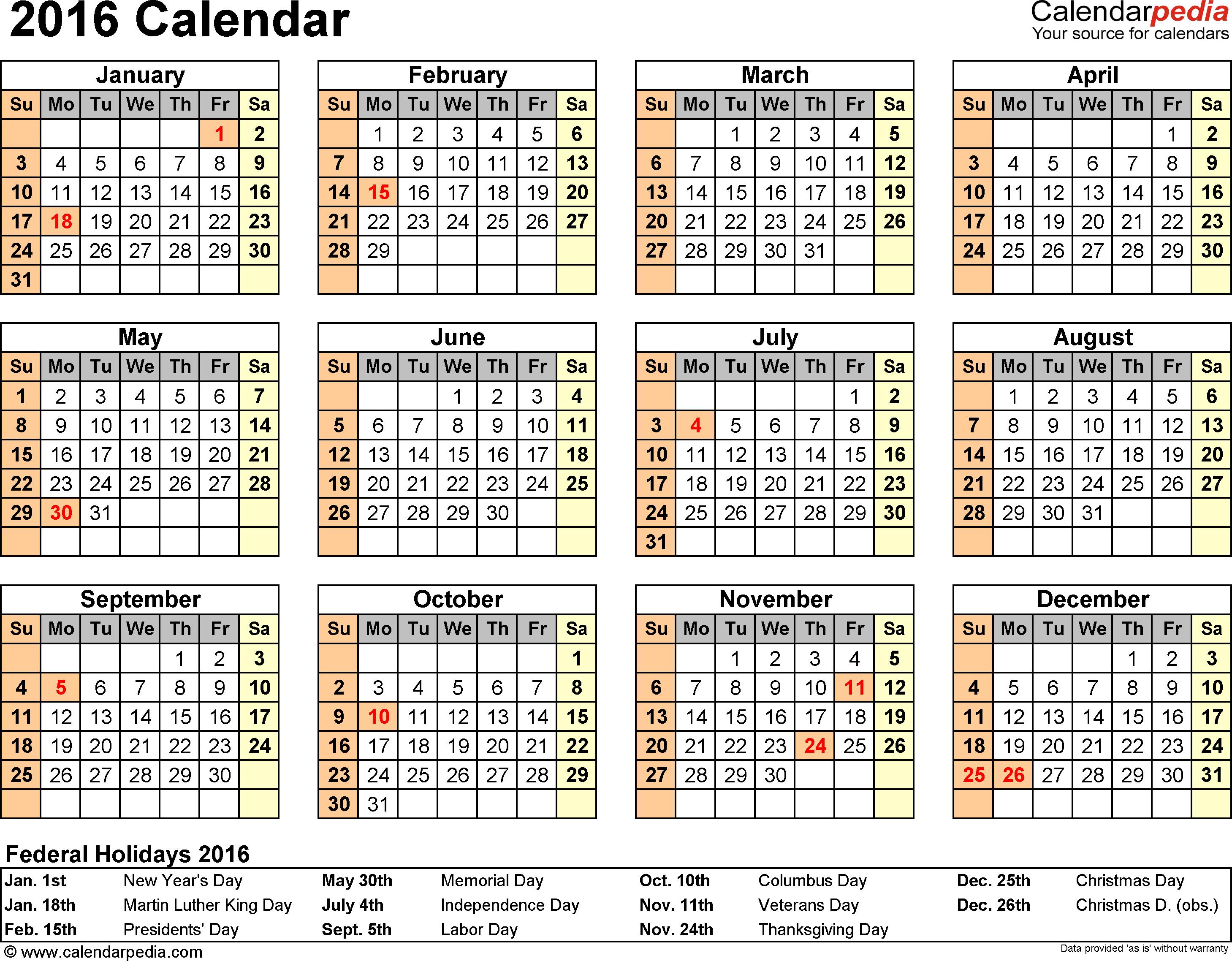 2016 Calendar 16 Free Printable Word Calendar Templates 2016
