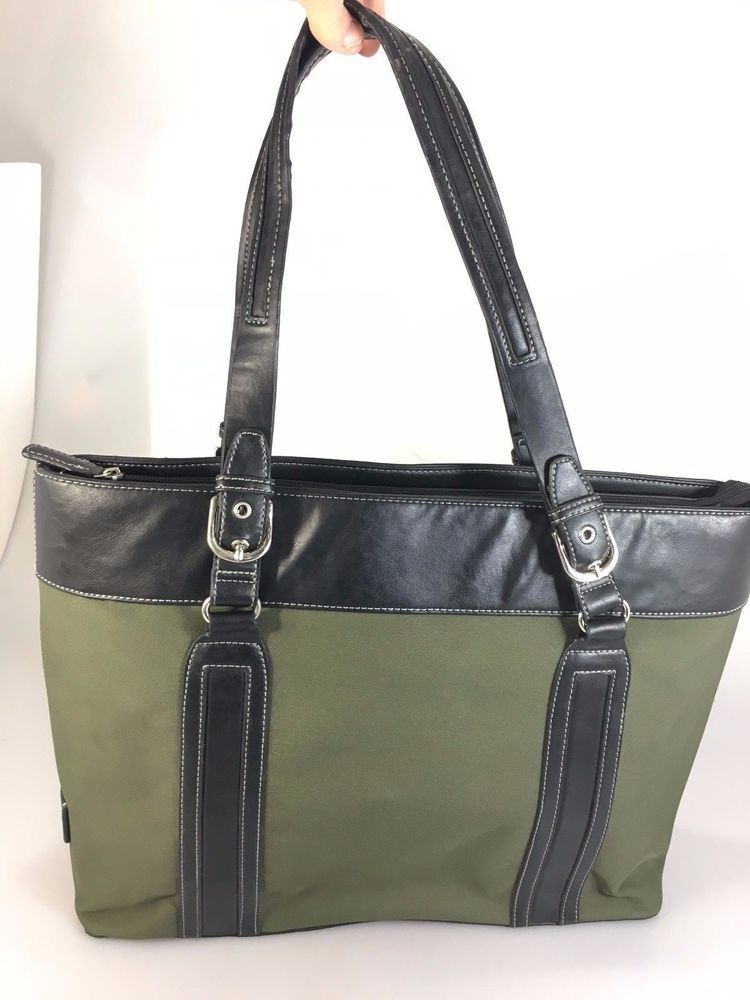 Details About Franklin Covey Alexa Green Black Fabric 15 Laptop Briefcase Bag Case 736480
