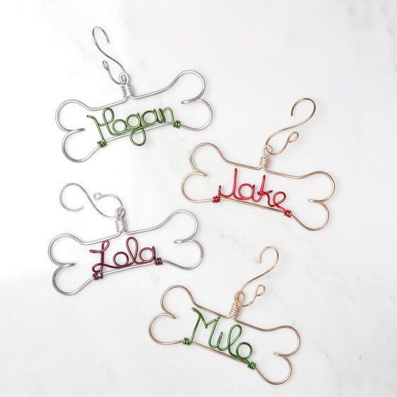 Personalized Dog Bone Christmas Ornament - Wire Pet Ornament
