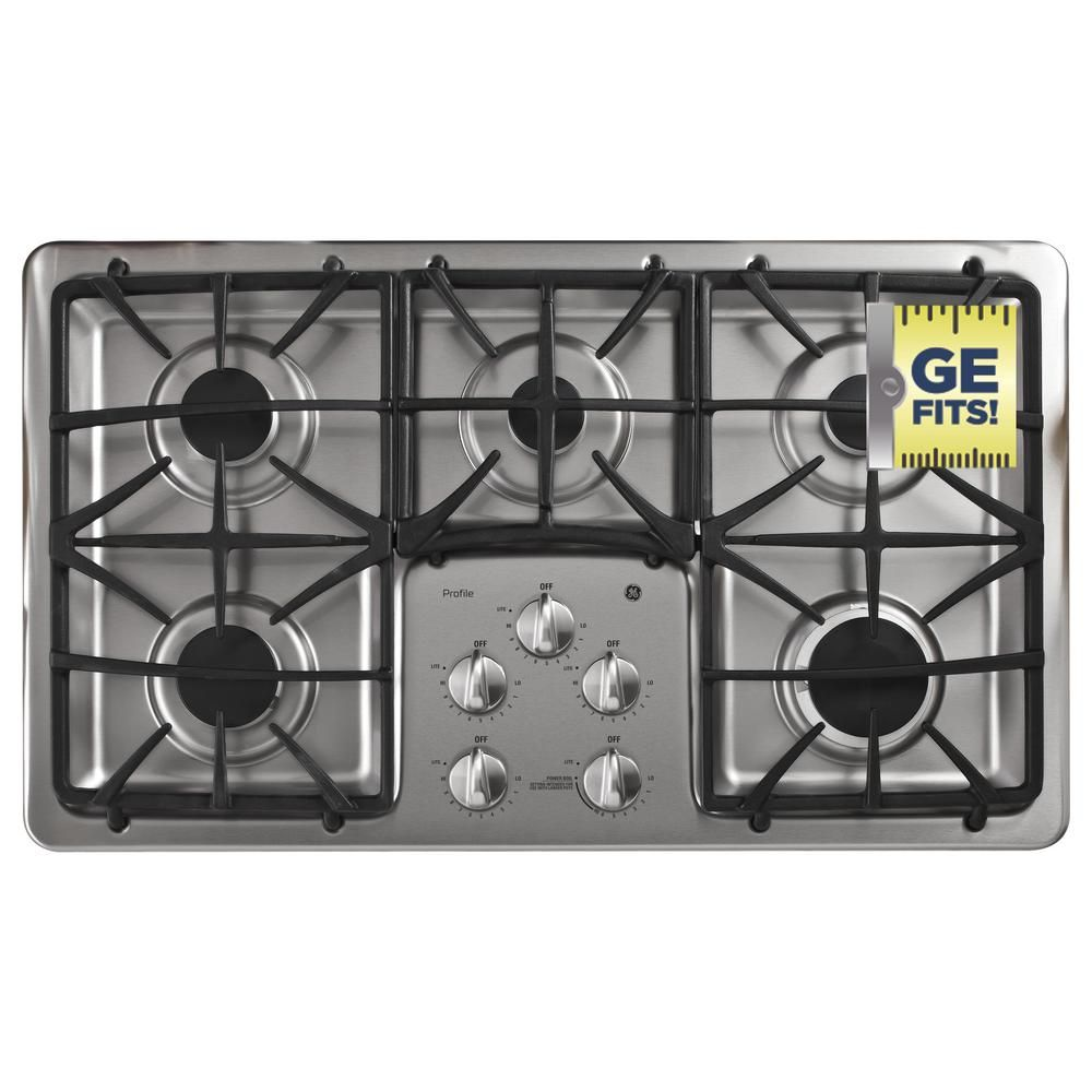 Ge Profile 36 In Gas Cooktop In Stainless Steel Silver With 5 Burners Including Power Boil Burner