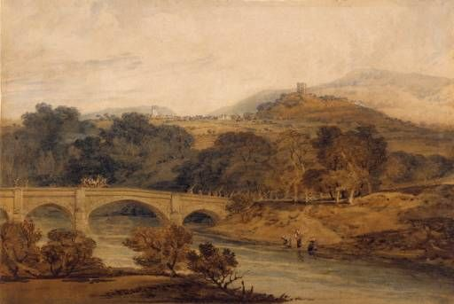 Joseph Mallord William Turner 'Clitheroe, from Eadsford Bridge', c.1799 - Watercolour on paper -   213 x 313 mm -  © Art Gallery of Ontario
