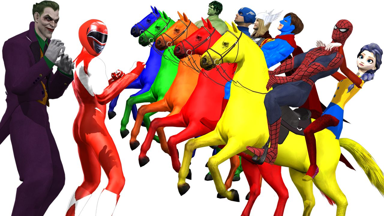To Learn Colours Names With Horses And A Superheroes Cartoon Video For Kids Cartoon Gifs Cartoon Kids