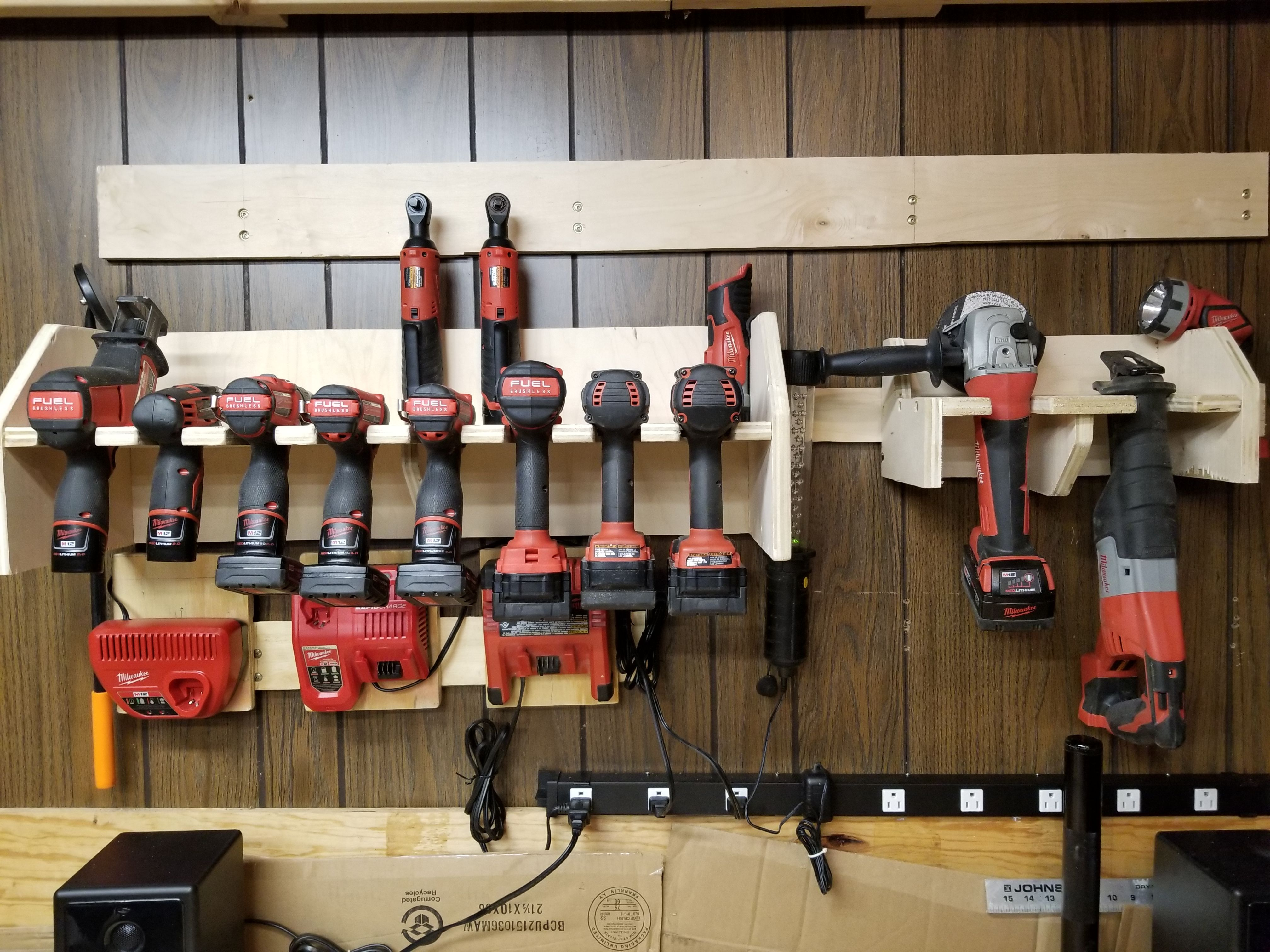 Diy cordless power tool storage charging station milwaukee m12 and diy cordless power tool storage charging station milwaukee m12 and m18 french cleats solutioingenieria Image collections