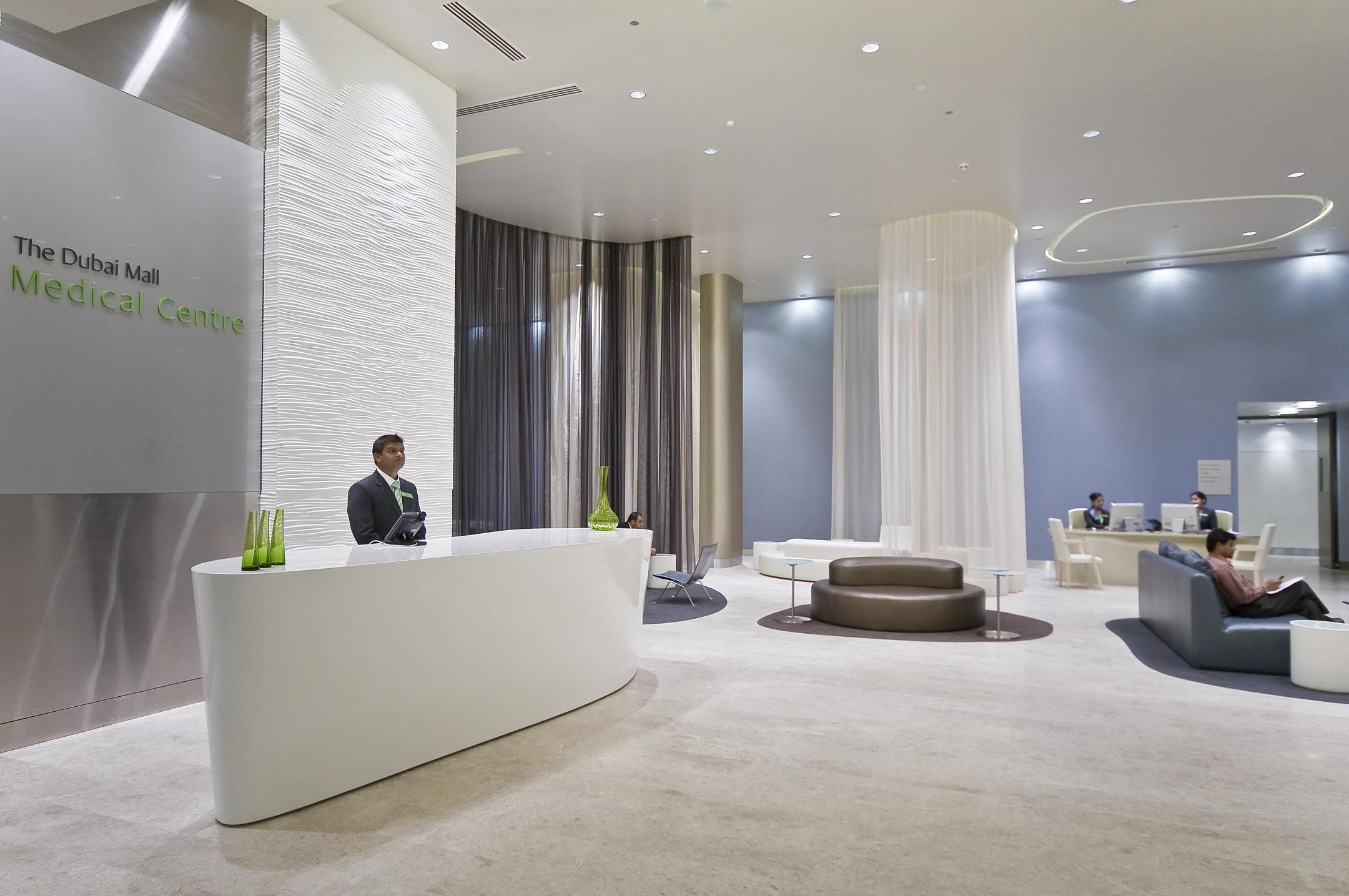 Lobby at the dubai mall medical centre clinic interior for Office design archdaily