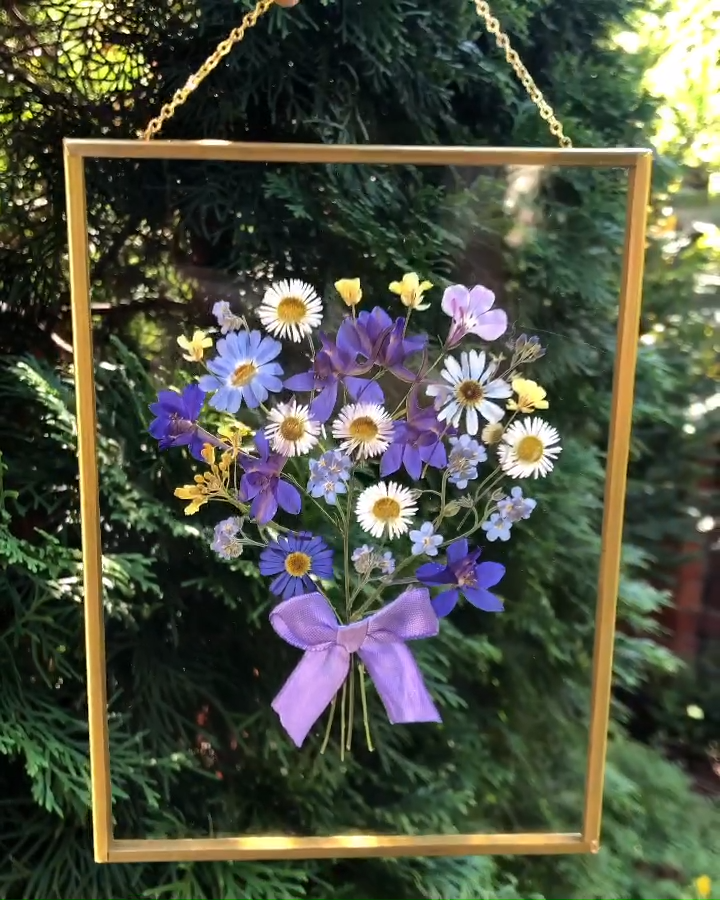 Photo of Hanging Double Glass Pressed Flower Brass Frame On The Chain Floating Herbarium Frame
