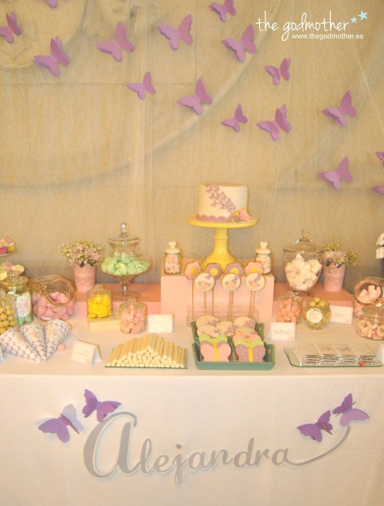 Mesa dulce mariposas butterfly candy table candy bar - Mesa dulce infantil ...