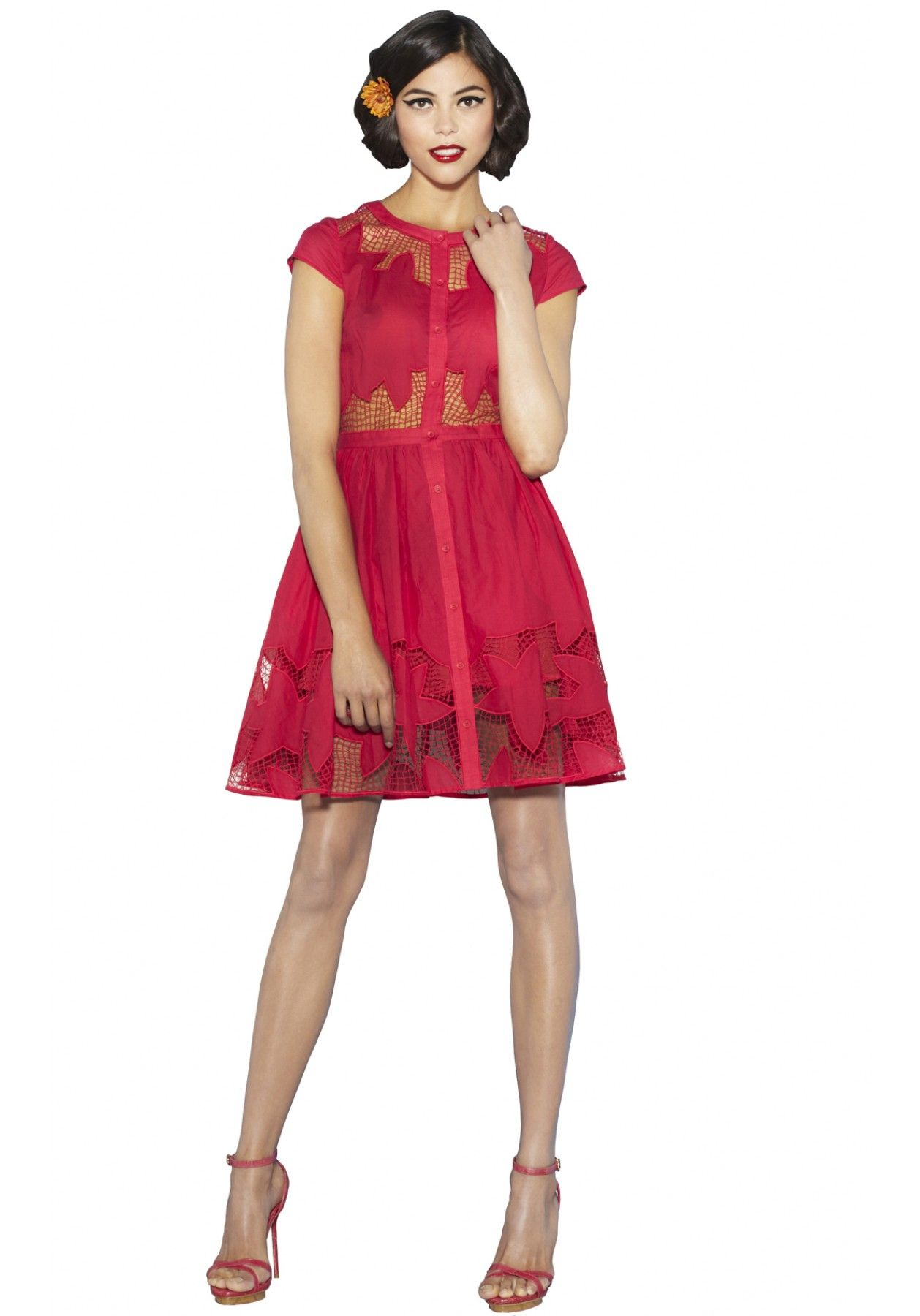 PAPINA EMBROIDERED BUTTON DOWN DRESS
