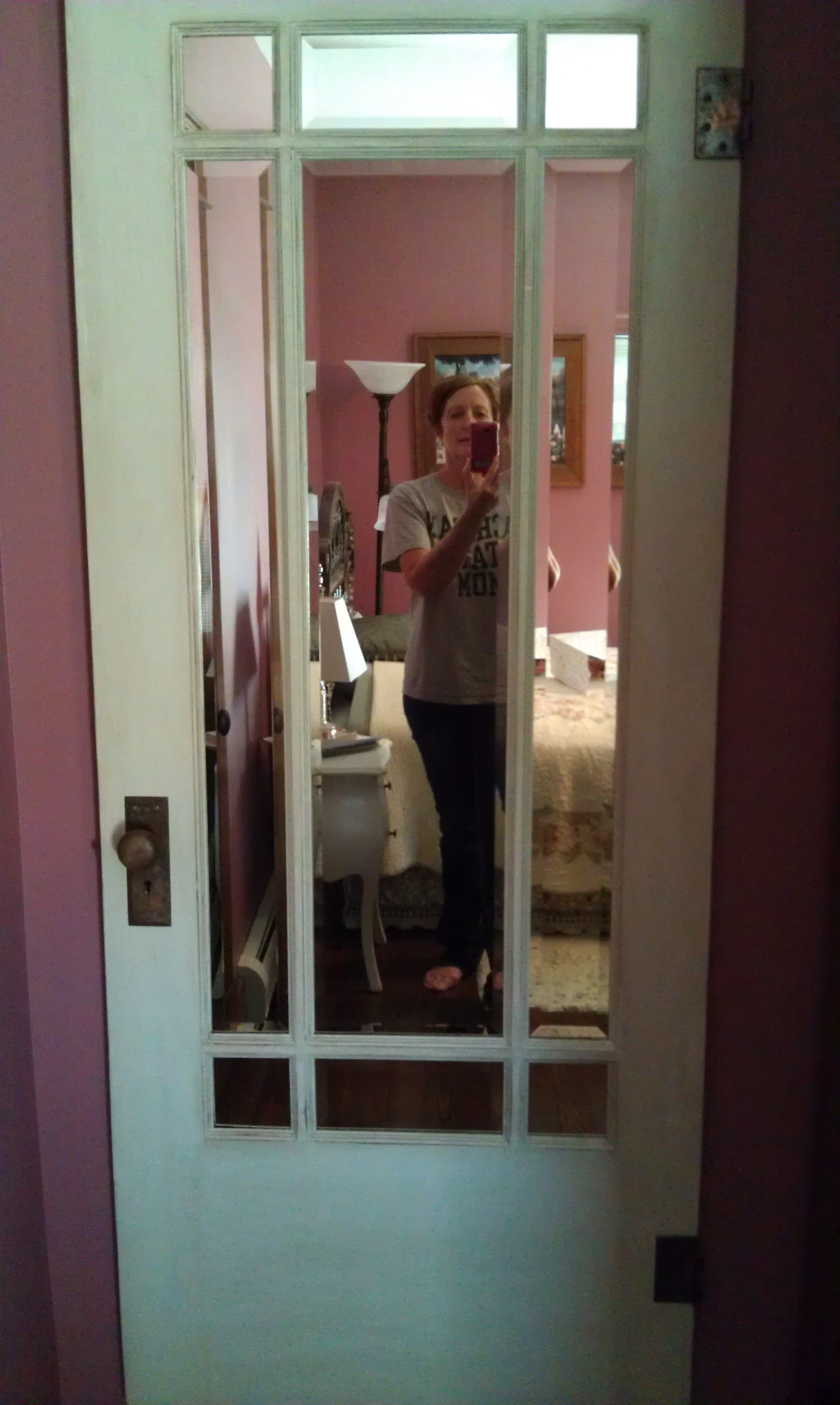 I Took An Old Door And Replaced The Glass Panels With Beveled Mirrors. It  Now Hangs On My Bedroom Wall As A Full Length Mirror.