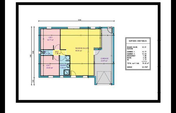 Plan Maison Plain Pied 2 Chambres 60m2 Plan Maison 2 Chambres Plan Maison Plan Maison Plain Pied