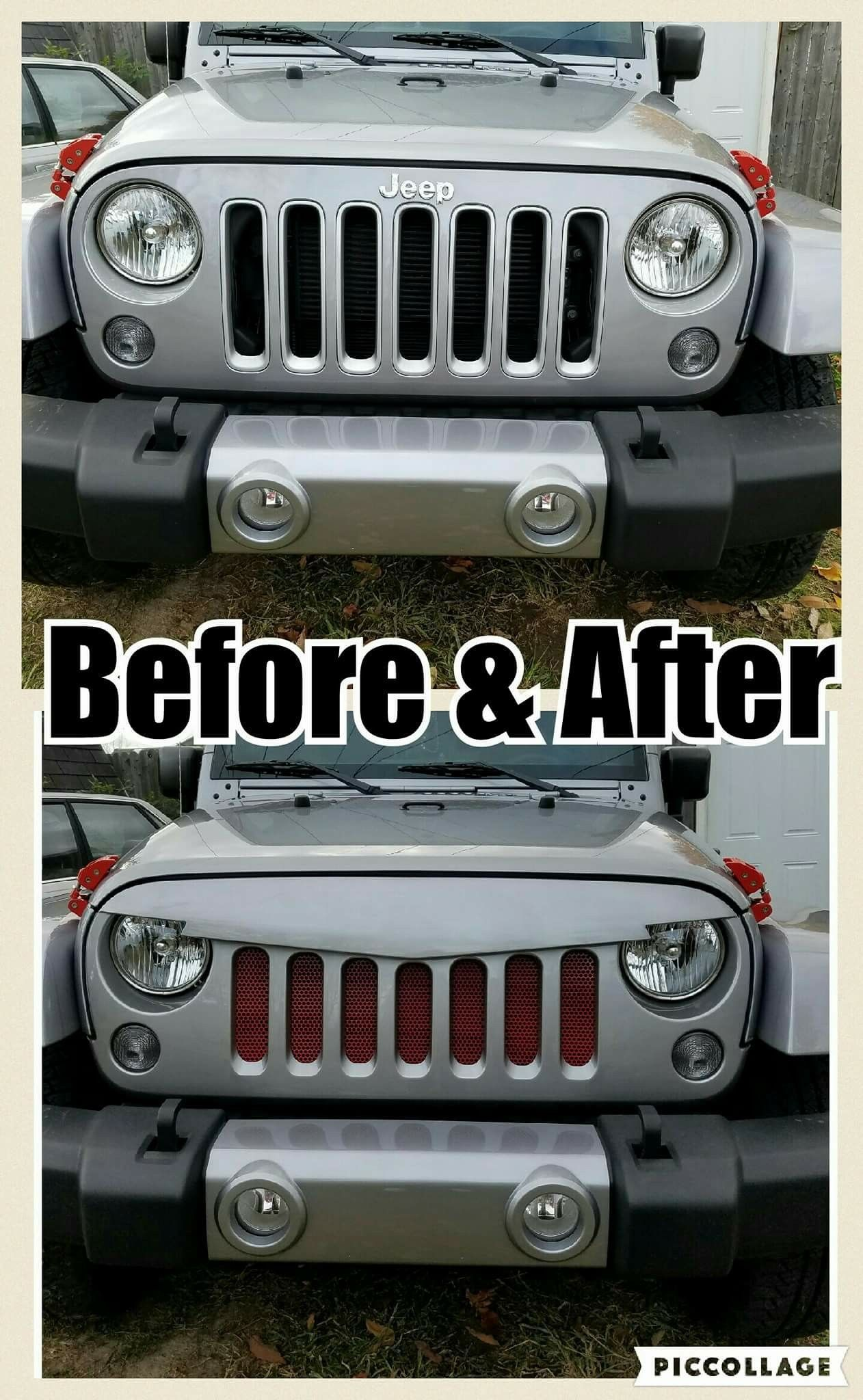 Jeep wrangler angry bird grille custom painted to match bought on amazon