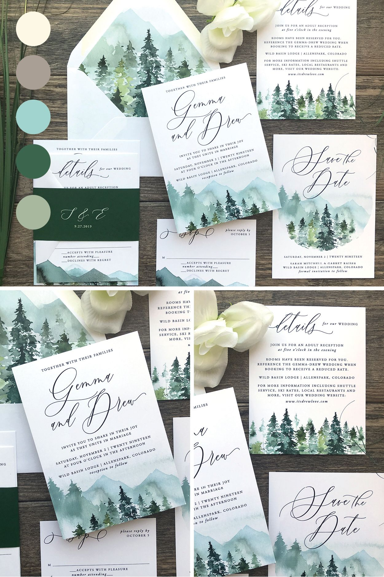 Rustic Mountain Forest Watercolor Wedding Invitations 217 Dreaminginpaper Watercolor Wedding Invitations Wedding Invitation Sets Country Wedding Invitations