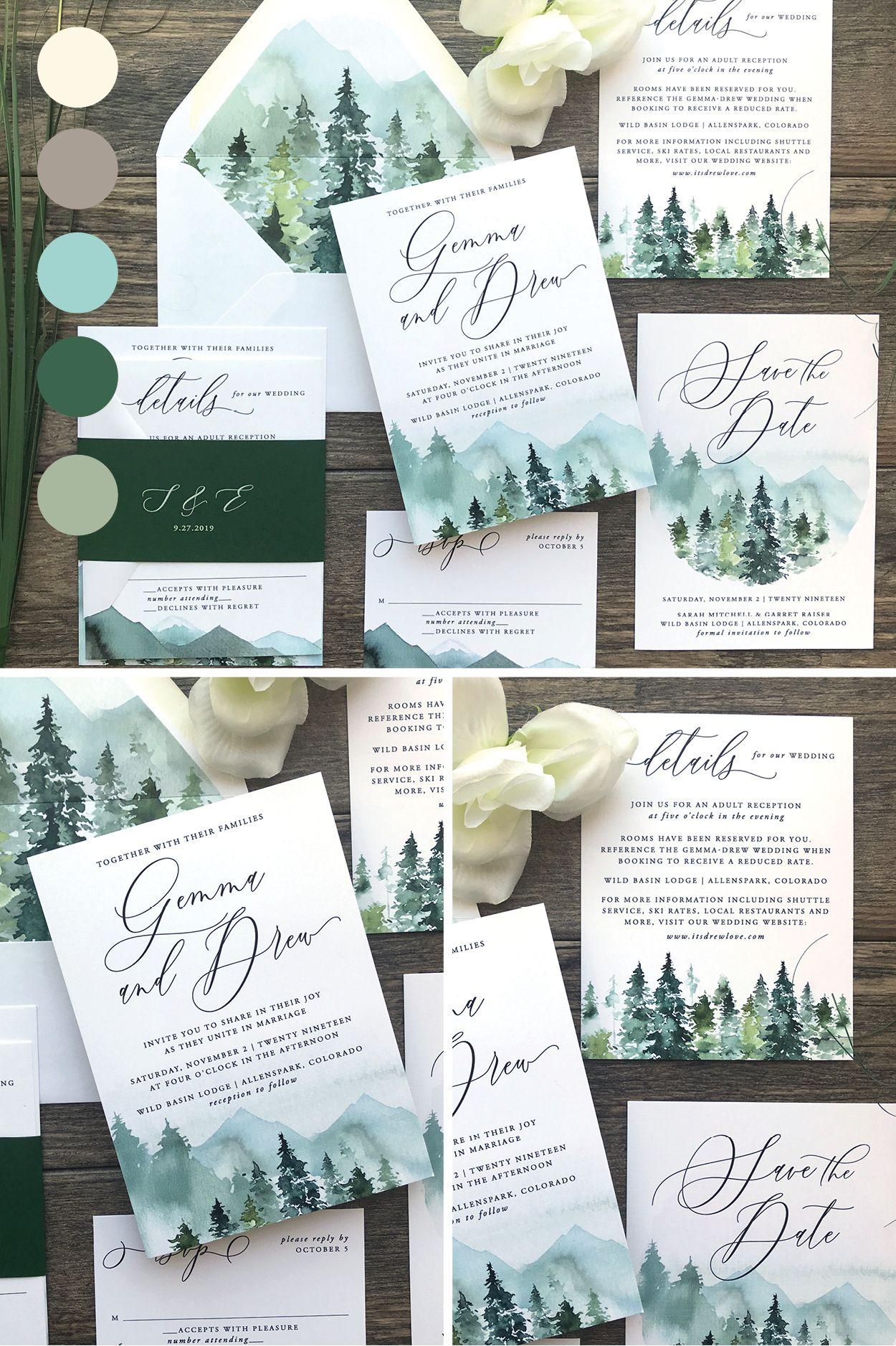 Gorgeous Rustic Mountain Landscape Watercolor Wedding Invitat