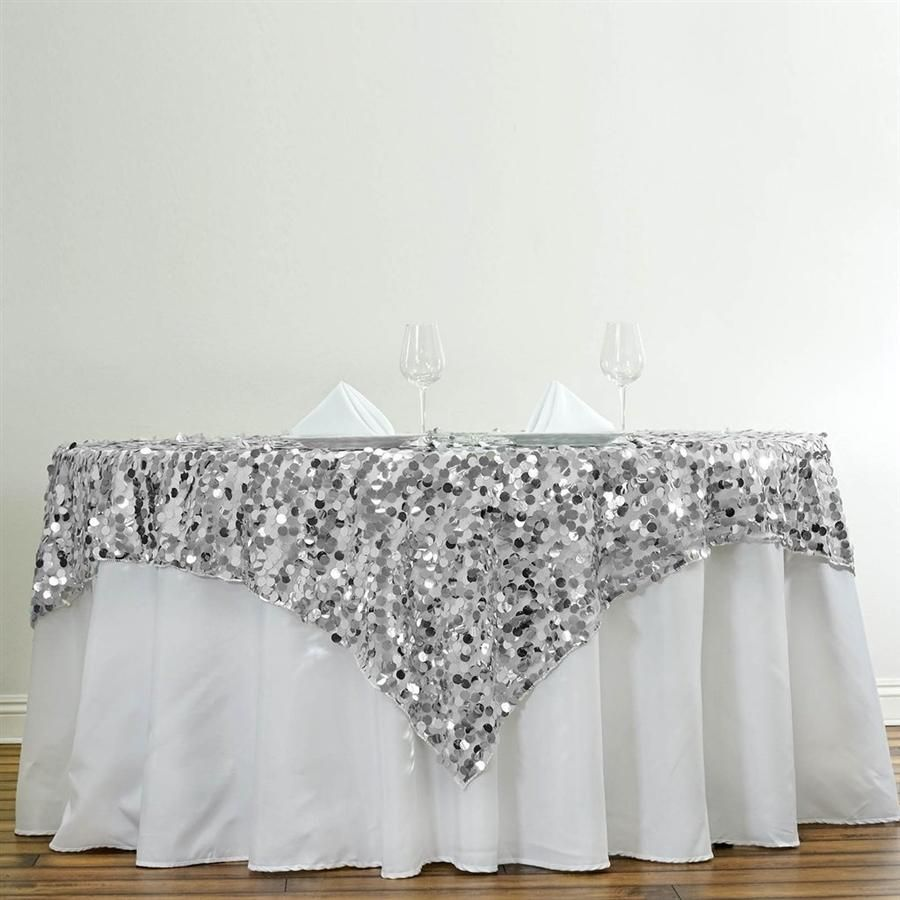 90 In Silver Big Payette Sequin Square Table Overlay Bridal