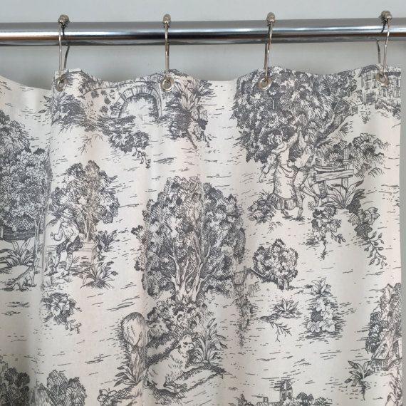 Grey Toile Farmhouse Fabric Shower Curtain 72 X In Stock