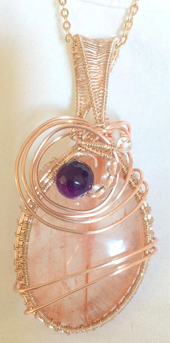 Rose Gold Wire Wrapped Strawberry Quartz Pendant on Chain Gold
