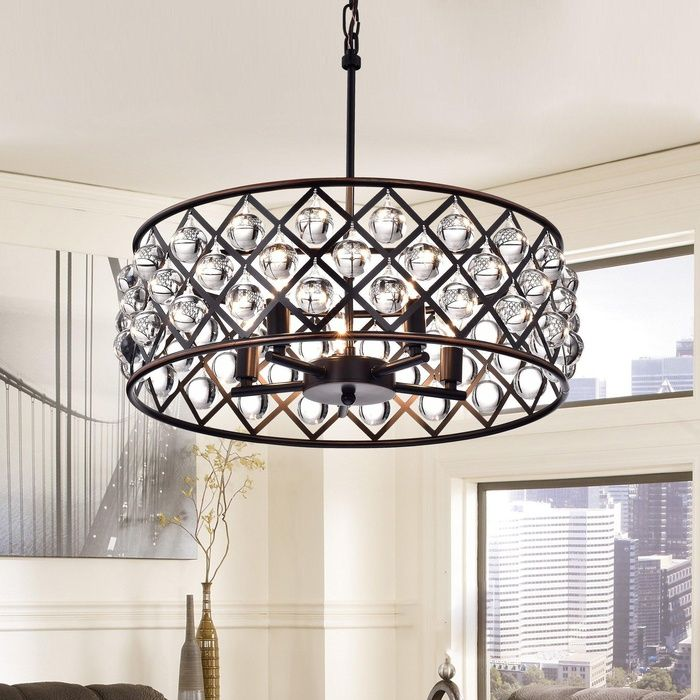 Azha 5 Light Crystal Drum Chandelier Ceiling Fixture Oil Rubbed Bronze