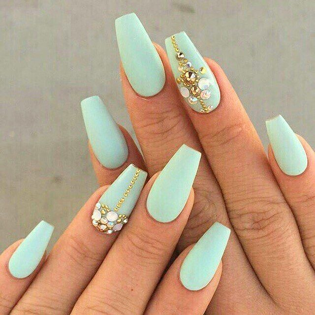 30 Manicure Ideas That Will Make You Mad For Matte Coffin Shape Nails Coffin Nails Designs Mint Green Nails