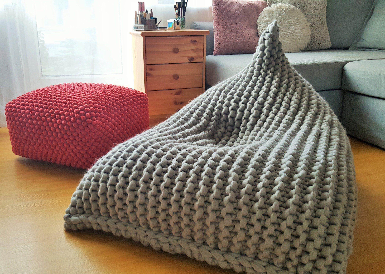 Terrific Chunky Merino Wool Light Grey Knitted Kids Adult Bean Bag Ncnpc Chair Design For Home Ncnpcorg