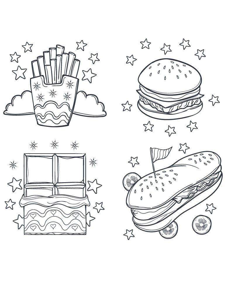 Street fast food dessin coloriage pour adulte cuisine dessin food coloring pages coloring - Dessin a colorier pour adulte ...