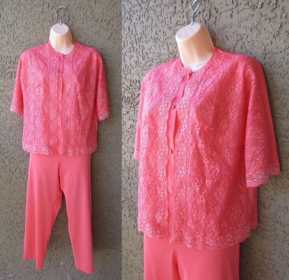 VTG Vanity Fair Dk Pink Pajamas Lace Top Elastic Waist 2 Piece