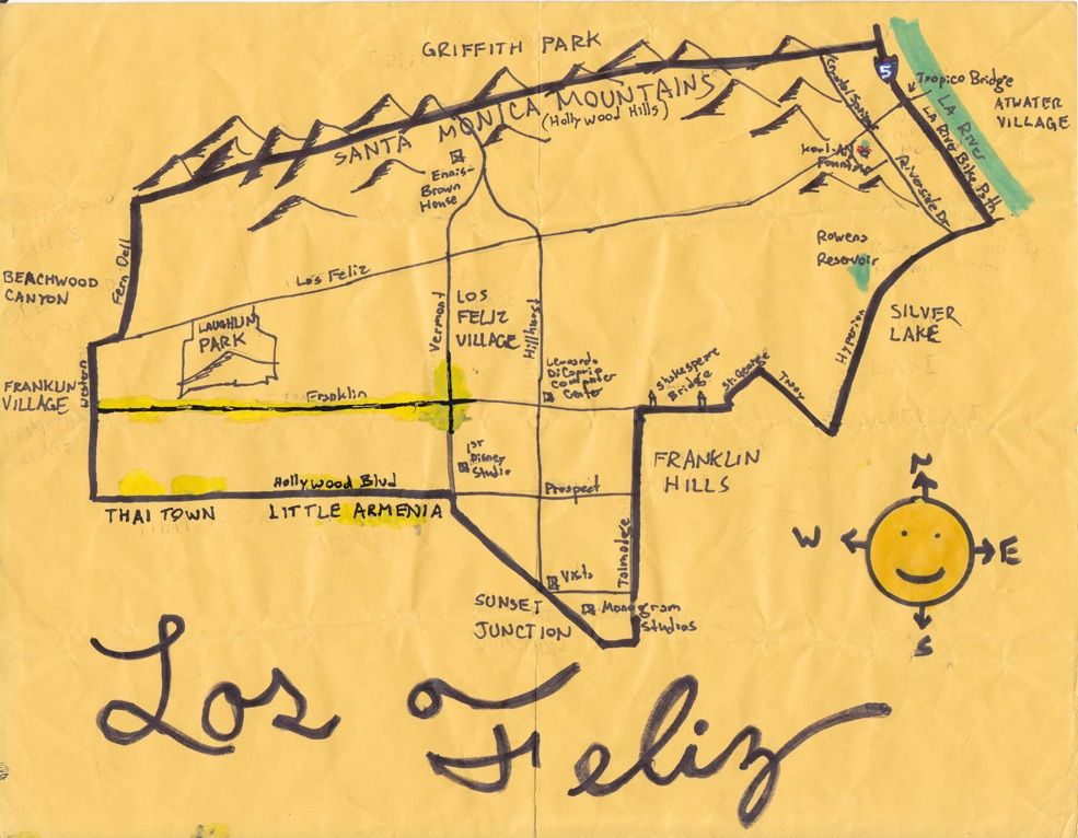 Ink map of Los Feliz