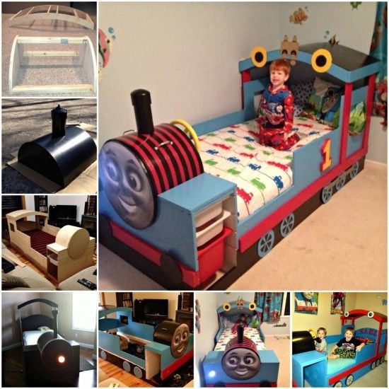 DIY Thomas the Tank Engine Train Bed Tutorial. Train Bed DIY Easy Tutorial Plus Plans Thomas Train Bed   Train