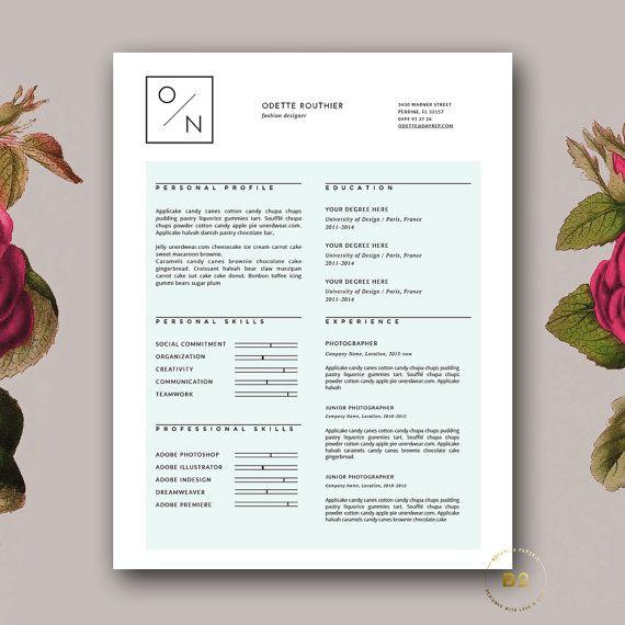 Simple Resume Design Clean Resume Creative Template Word Etsy Hipster Resume Simple Resume Template Creative Resume Templates