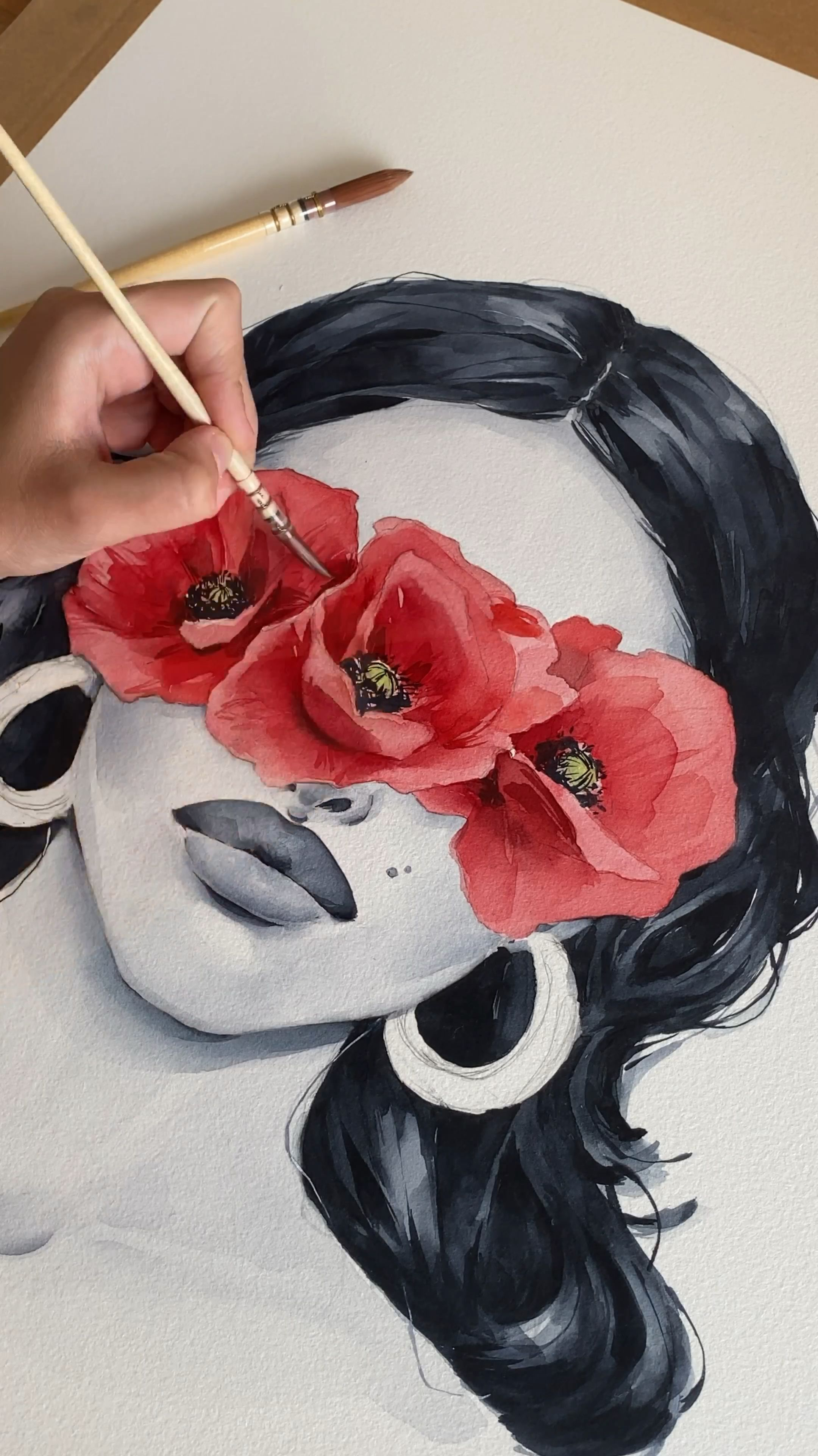 Poppy blindfolded ~ process by Polina Bright  #movietimes #watercolourpainting #watercolor #watercoloursketch #art #artwork #sydney #painting #polinabright #drawingideas #drawingtutorial
