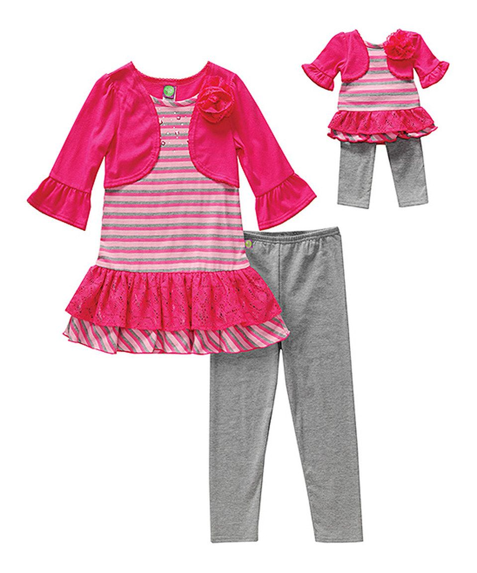 Dollie Me Girl and Doll Matching Gray Pink Dress Outfit Clothes American Girl