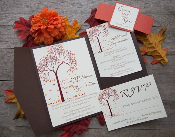 Pocketfold Wedding Invitation, Fall Wedding Invitation, Tree Wedding