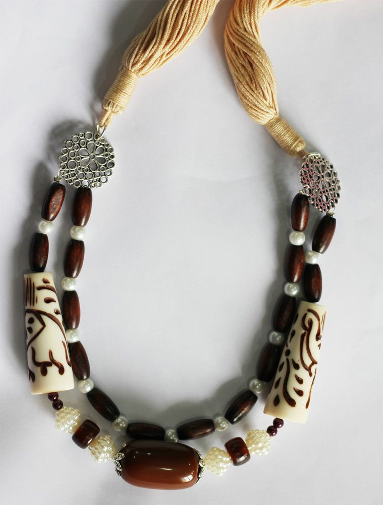 Rubeads Necklace set with Resin and Wood beads with Dori For Women