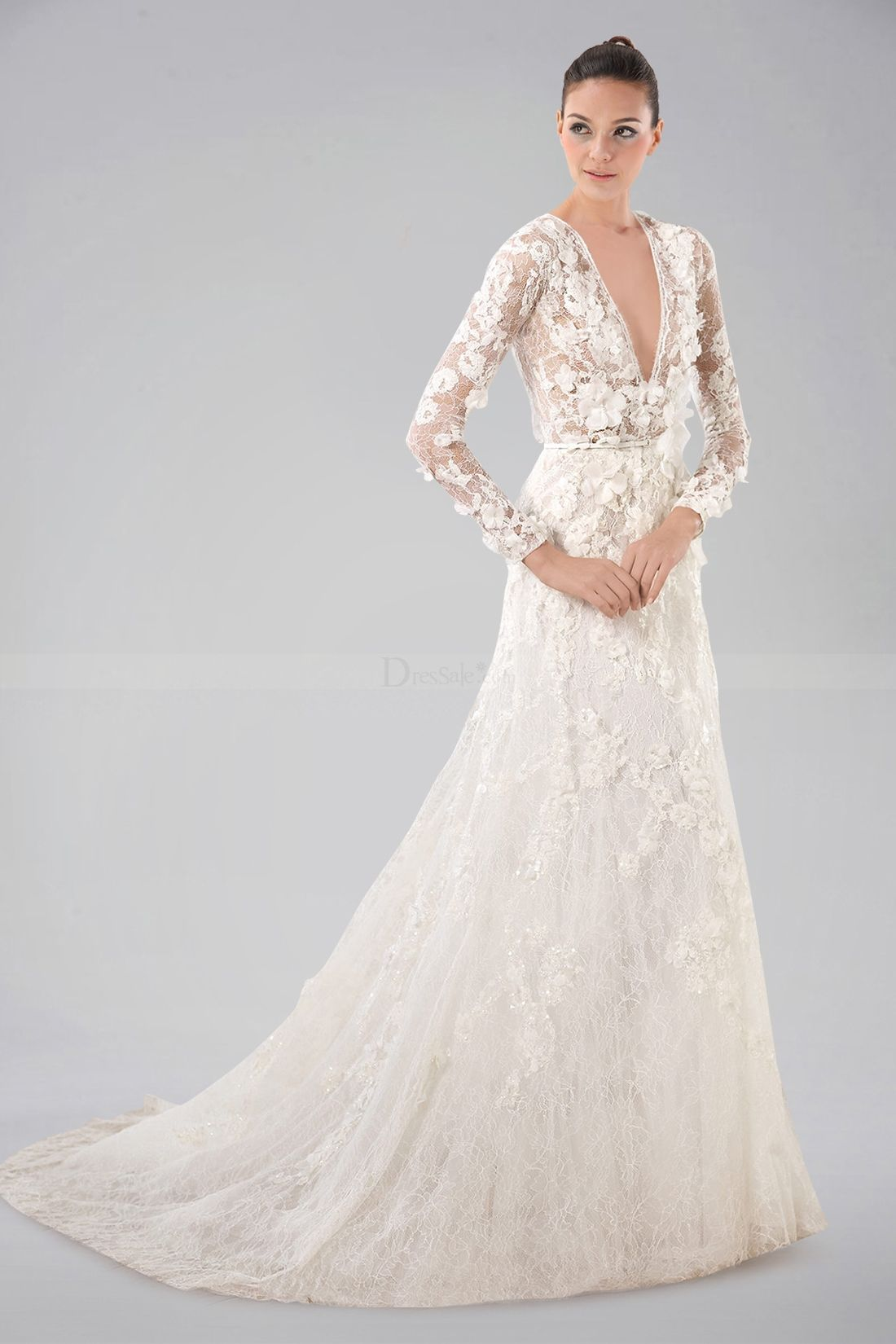 4a2c25d807772 Breezy V-neckline Long Sleeve Wedding Gown with Lace Overlay and Appliques