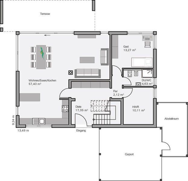 K che und wohnzimmer vertauscht garderobe an der wand zur k che t r etwas nach oben r cken - Wohnzimmer grundriss ...