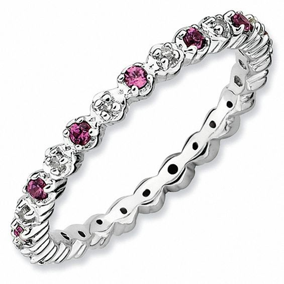 Zales Stackable Expressions Bezel-Set Small Rhodolite Eternity Style Ring in Sterling Silver ZGSRlyB5Im